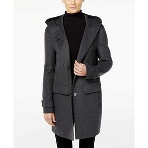 Jones New York Gray Wool Double Face Attached Hooded Coat Snap Front L